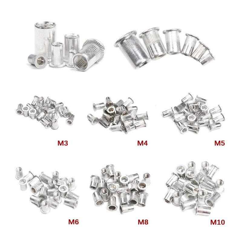 50 Pcs Aluminium Paduan/Baja Karbon M3 M4 M6 M8 M10 Keling Kacang Kepala Datar Keling Kacang Set Kacang masukkan Memukau title=