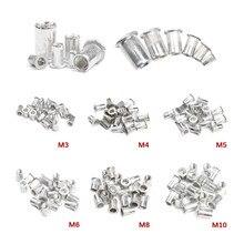 50 pçs liga de alumínio/aço carbono m3 m4 m6 m8 m10 porcas rebite cabeça plana porcas rebite conjunto porcas inserção rebitagem