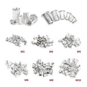 Image 1 - 50 sztuk ze stopu aluminium/stali węglowej M3 M4 M6 M8 M10 nitonakrętki płaskie nit z łbem nitonakrętki zestaw nakrętki wstaw nitowanie