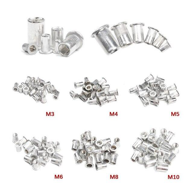 50 sztuk ze stopu aluminium/stali węglowej M3 M4 M6 M8 M10 nitonakrętki płaskie nit z łbem nitonakrętki zestaw nakrętki wstaw nitowanie