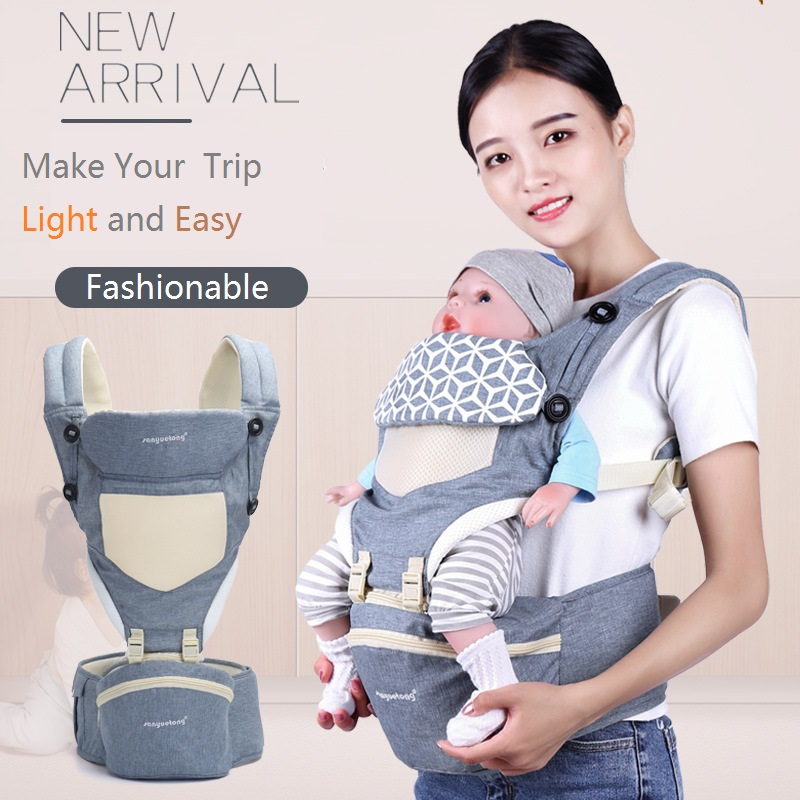 DIY Breathable Blue Pink Grey Baby Carrier Backpack Portable Infant Baby Carrier Kangaroo Hipseat Heaps Baby Sling Carrier Wrap