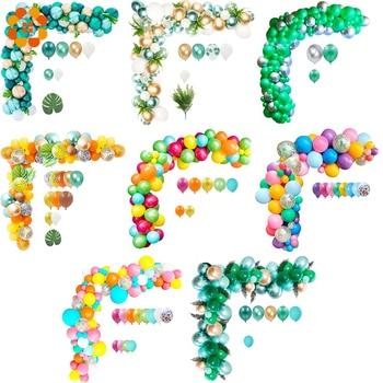 100pcs Balloon Arch Kit Green Confetti Metal Balloon Wedding Birthday Jungle Party Decor Baby Shower Hawaii Party Latex Balloon