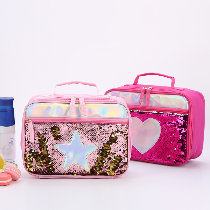 Sequins Portable Zipper Insulated Lunch Box Children Glitter Tote Bag Printed Polyester Girls Food Picnic Bags For Kids Handbag