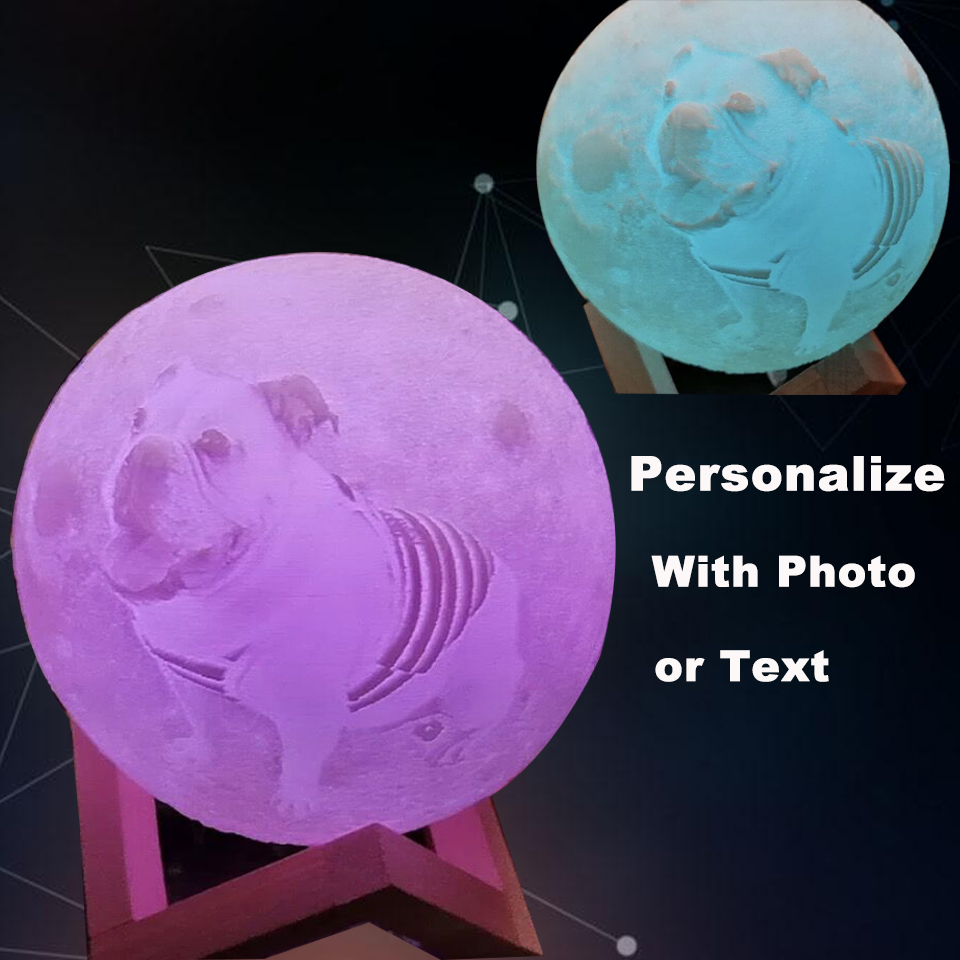 Photo Custom Personality 3D Print Moon Lamp Color Change Lunar USB Rechargeable Nightlight Touch/Remote Moonlight