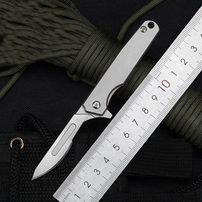 EDC Titanium Alloy Folding Knife Mini Scalpel Open Express Multifunctional Tool