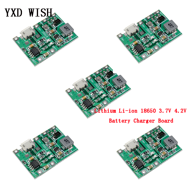 5pcs Lithium Li-ion 18650 3.7V 4.2V Battery Charger Board DC-DC Step Up Boost Module Integrated Circuit Lithium Battery Charging
