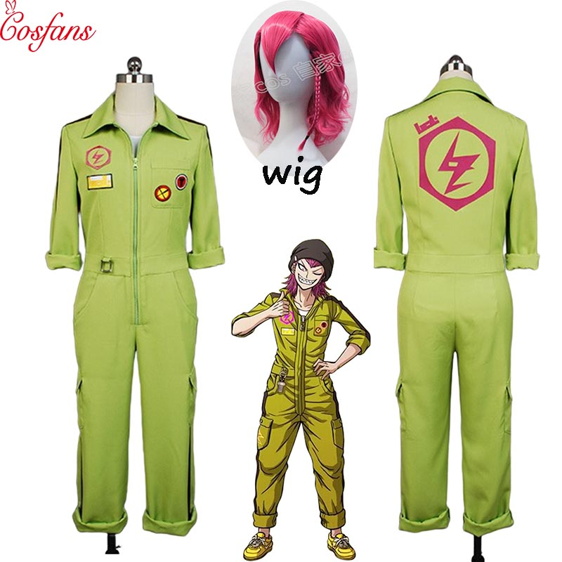 Kazuichi Costume Super DanganRonpa Cosplay Kazuichi Souda Full Set Uniform Jumpsuit With Hat Outfit Halloween Costume Vest Wig