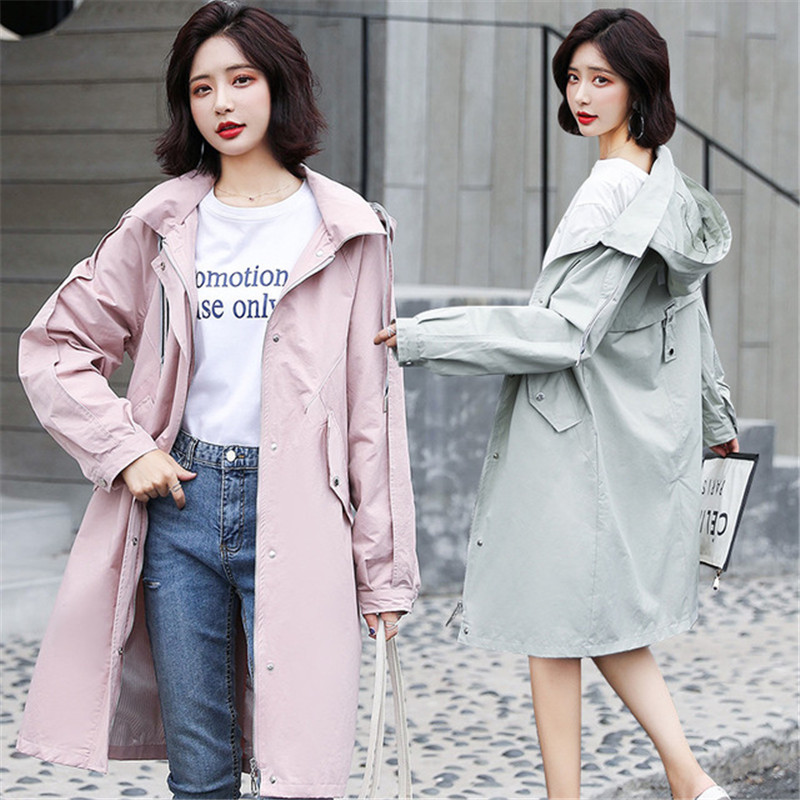 New Fashion Hooded Chic Waist Windbreaker Women's 2019 Spring Autumn Loose BF Long   Trench   Coat Overcoats XA126