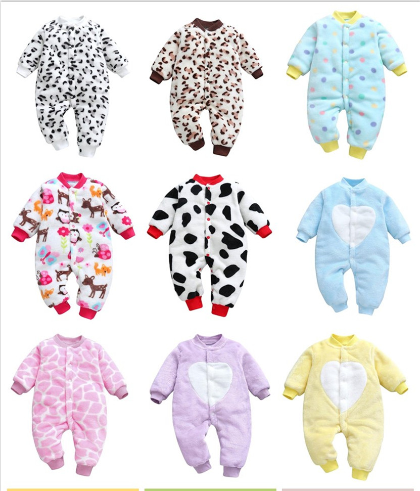 Baby Girl Boy Thick Romper Warm Winter Newborn Infant Baby Leopard Carto Fleece Romper Jumpsuit Soft Pajamas Clothes 2019 Newest