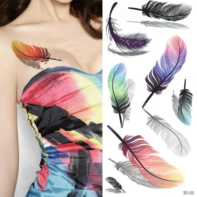 Temporary Tattoos Sticker for Women Body Art Tattoo Sticker 3D Butterfly Rose Flower Feather Tattoo Waterproof Halloween Gift 5