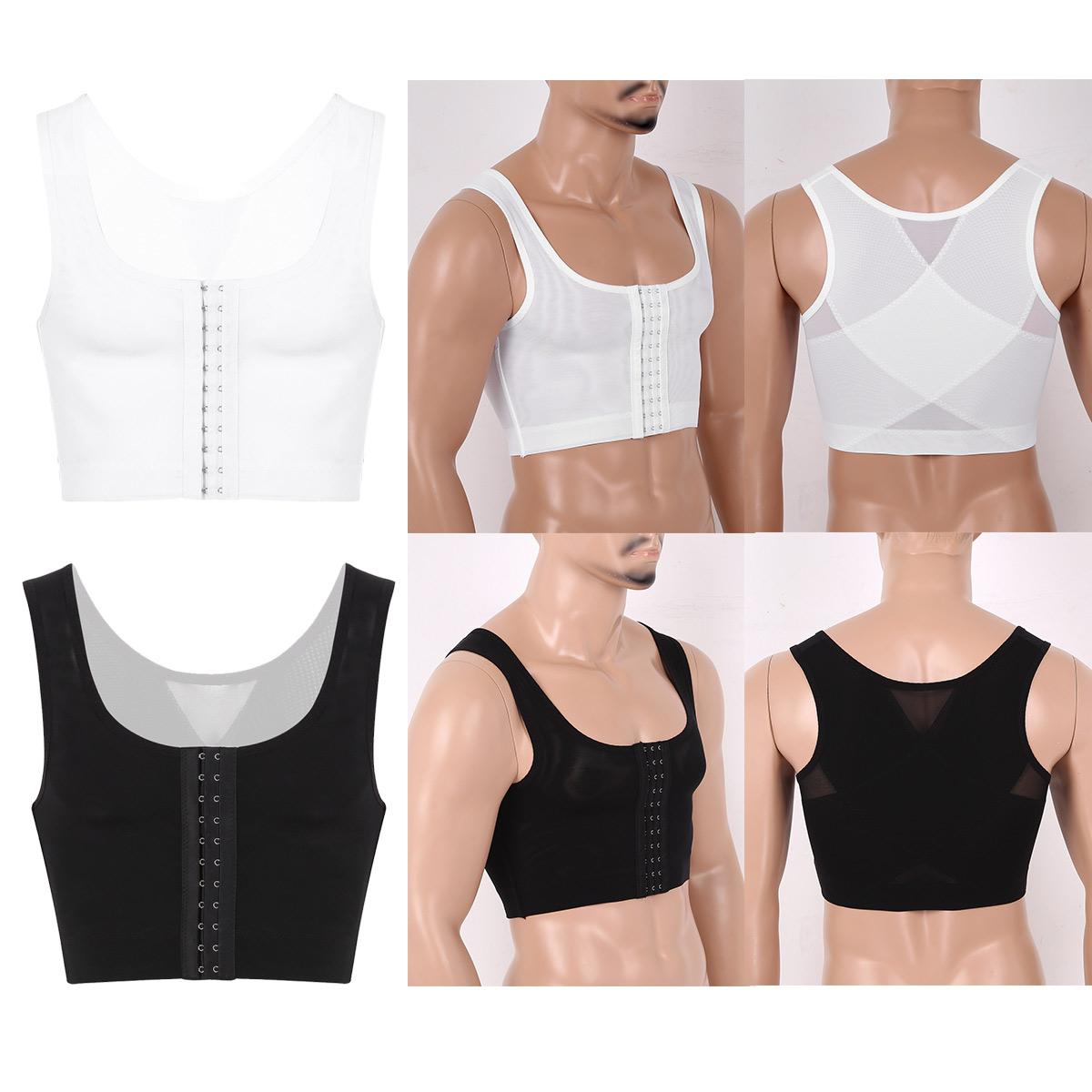 Mens/'s Shapewear Gynecomastia Compression Shirts Hide Man Moobs Lesbian Chest Binder Vest