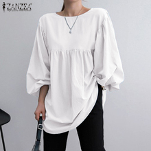 Loose Shirts ZANZEA Blouse Puff-Sleeve Back-Buttons Solid-Tops Oversized Blusa Women Office