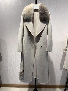 Image 3 - Oftbuy 2020 novo casaco de pele real natural gola de pele de raposa jaqueta de inverno feminino lã misturas fino longo outerwear cinto senhoras streetwear