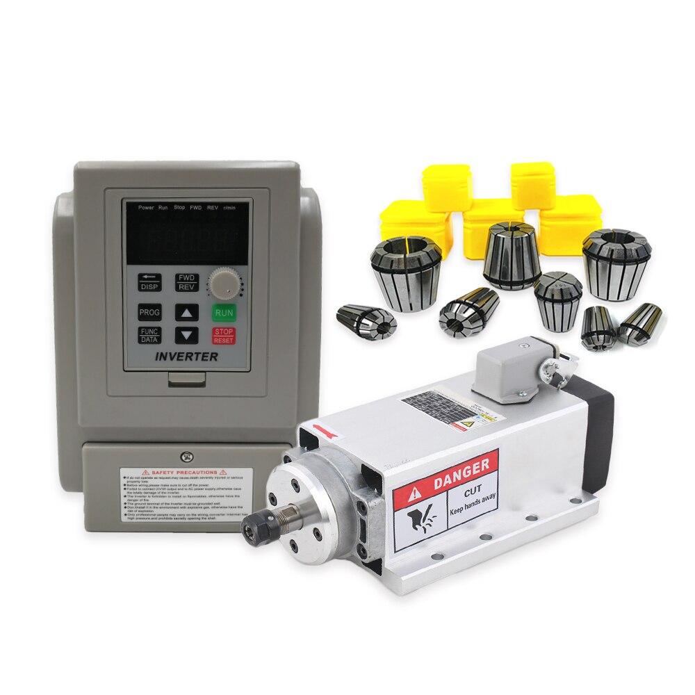 1,5 кВт 220 В или 380 В квадратный шпиндель воздушного охлаждения ER11 1500 Вт с воздушным охлаждением фрезерный шпиндель + 1,5 кВт VFD Инвертор + 13 шт./ко...