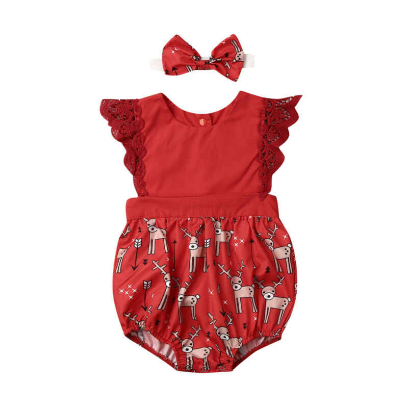 0-24M Christmas Baby Girl Red Rompers Newborn Infant Lace Cartoon Deer Jumpsuit Sleeveless Xmas Baby Girl Costumes Clothes