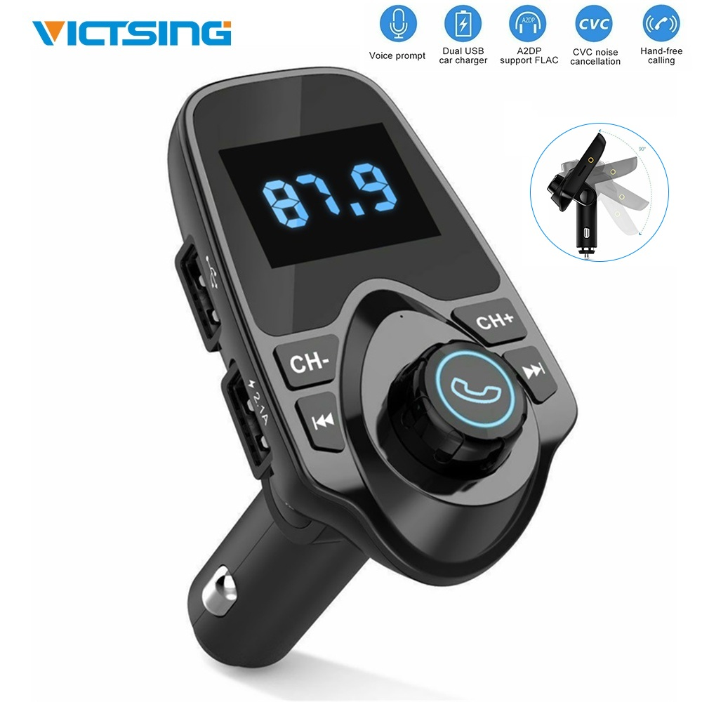 VicTsing Bluetooth Wireless Car Kit FM Transmitter MP3 Player Radio Adapter Dual USB Charger for TF Card USB Flash Drive 2020