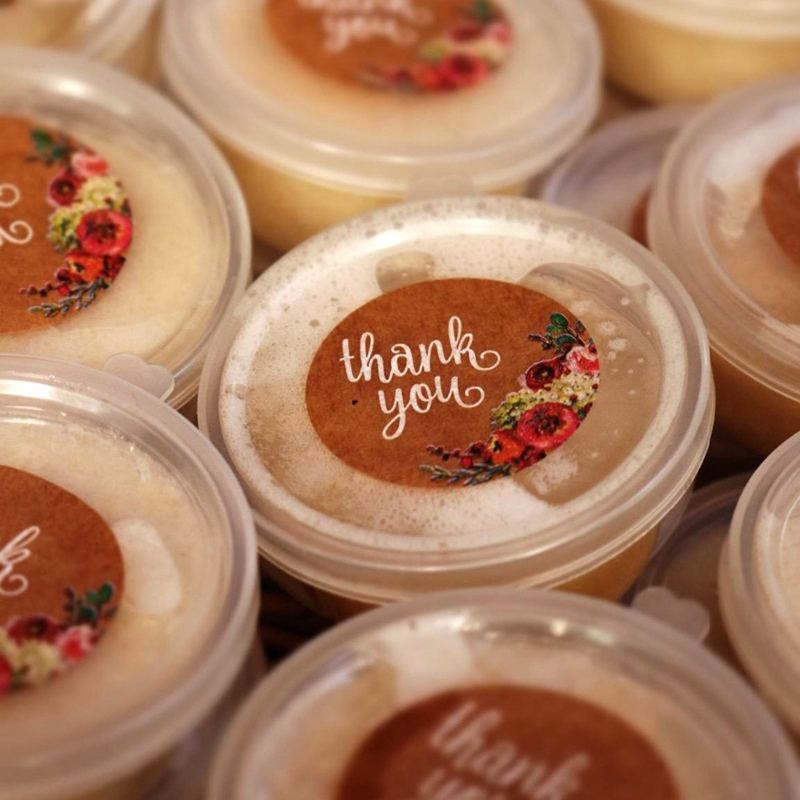 HOT-Kraft Floral Thank You Stickers - 1inch Circle Labels / 1000 Per Pack