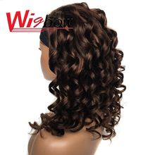 Highlight Loose Wave Headband Wig Human Hair Wigs For Black Women Brazilian Ombre Headband Wig Glueless Remy Bouncy Curly Wig 1B