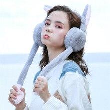 Женские наушники для девочек, зимние теплые звукозащитные наушники с искусственным кроличьим ушком