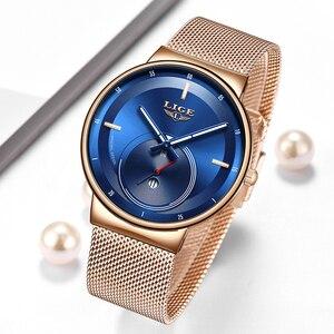 Image 4 - Relogio Feminino LIGE 2020 nowych kobiet zegarki niebieskie modne zegarki kobiety wodoodporny zegar Slim panie zegarek kwarcowy Relojes Mujer