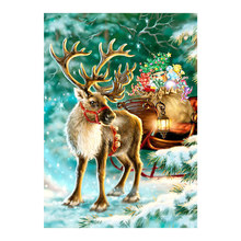 christmas reindeer sled Moge Diamond Painting Full Round animal gift New DIY sticking drill cross stitch embroidery decorative