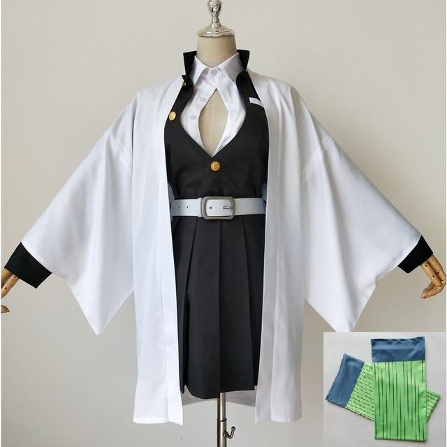 Anime Demone Cosplay Costume Kimetsu No Yaiba Kanroji Mitsuri Kimono Cappotto Del Vestito Delle Donne Uniforme Su Ordine