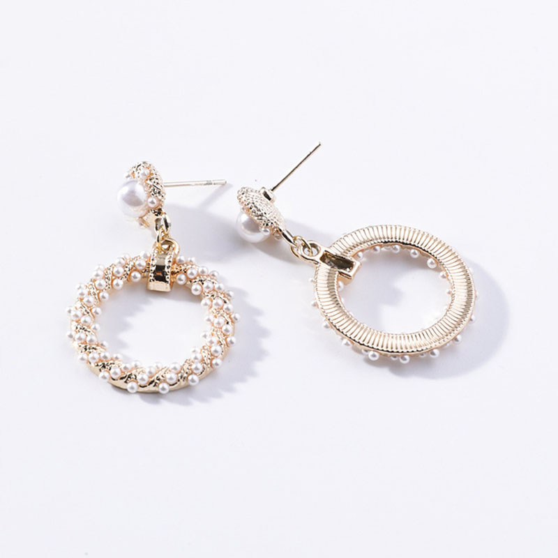 twist ring imitation pearl Hanging Dangle Fashion Stud Earrings Korean Hollow out Contracted Vintage Elegant Women's Earrings