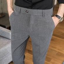 British Style Summer Men Dress Pant Striped Slim fit Ankle Length Pantalon Mens New Fashion Business Casual Suit Trousers