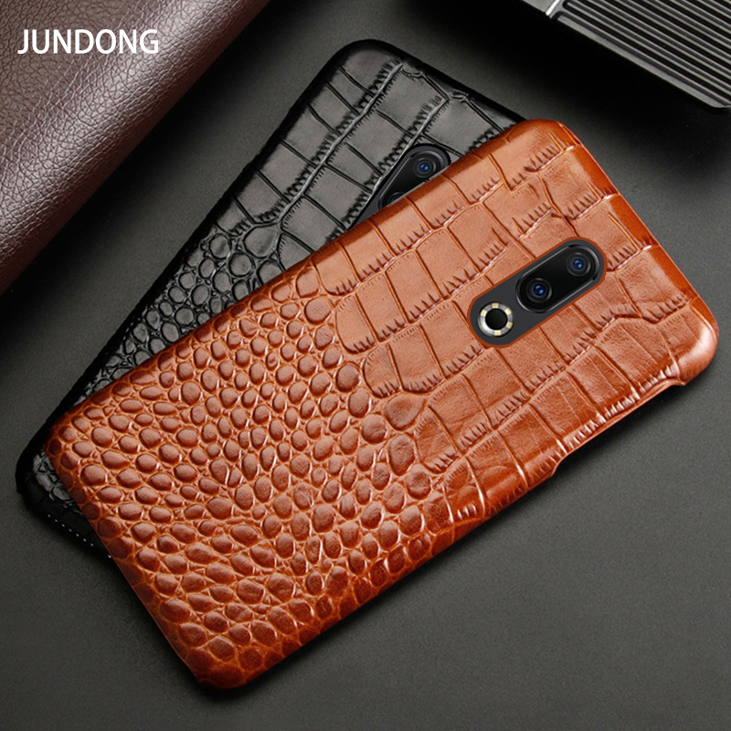 Genuine Leather Phone Case For <font><b>Meizu</b></font> 16th Plus <font><b>16</b></font> 16X 17 <font><b>Pro</b></font> 7 Plus X8 Cases Luxury Natural Cowhide Crocodile Texture Back Cover image