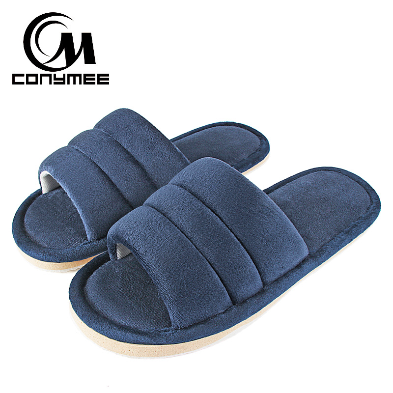 Winter Men Home Indoor Slippers Flip Flops Soft Plush Warm Casual House Shoes Sandals Male Anti Skid Furry Bedroom Slippers Shoe