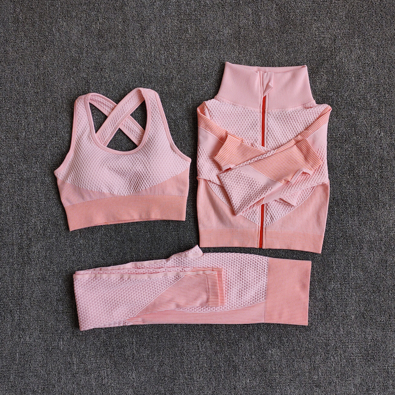 3PcsSetOrange - Women Seamless Fitness Yoga Suit Color-blocked Sportwear