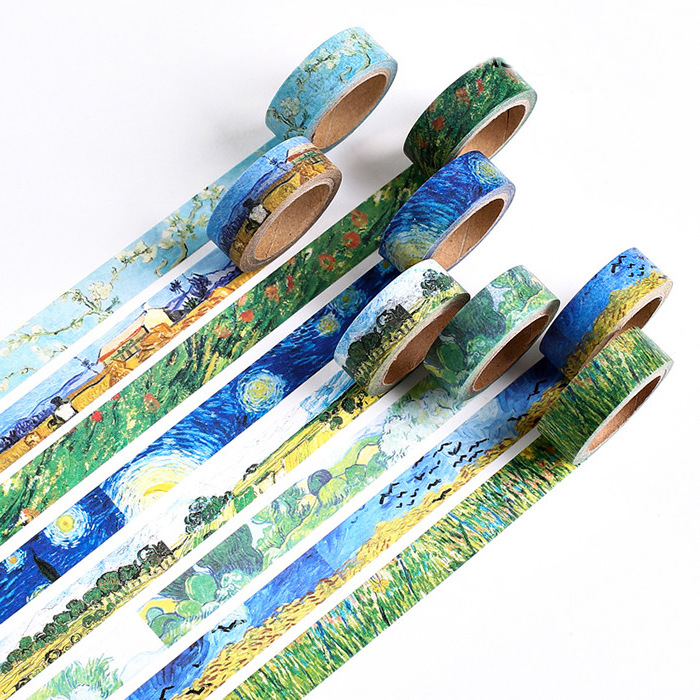 Van Gogh Starry Night Vintage Sticker Tape Decorative Fall Wheat Field Kawaii Washi Tape Almond Blossom Masking Tape Stationery