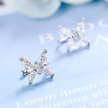 NEHZY – boucles d'oreilles papillon en argent Sterling 925 pour femmes, bijoux simples en cristal Zircon de haute qualité avec Clip, nouvelle collection
