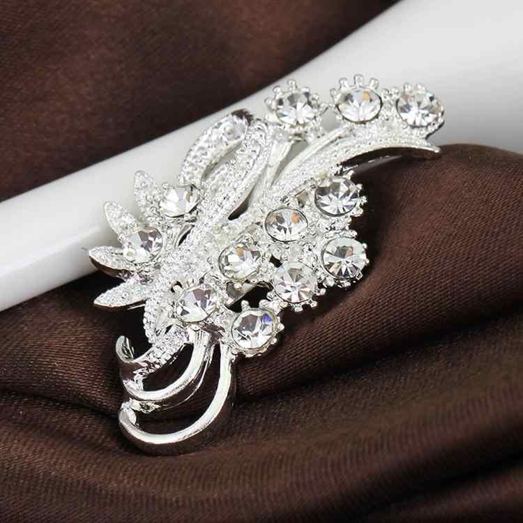 Accessori delle donne di Modo Elegante di Strass Delicato Placcato Argento Del Fiore Spille Collare Spilli Maglione Decorazione YBRH-0217
