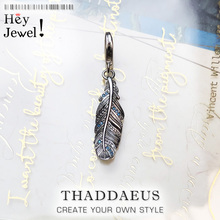 Fashion Custom New 925 Sterling Silver Feather Blue Pendants Charm for Women Men Fit Bracelet Necklace Trendy Accessory Making