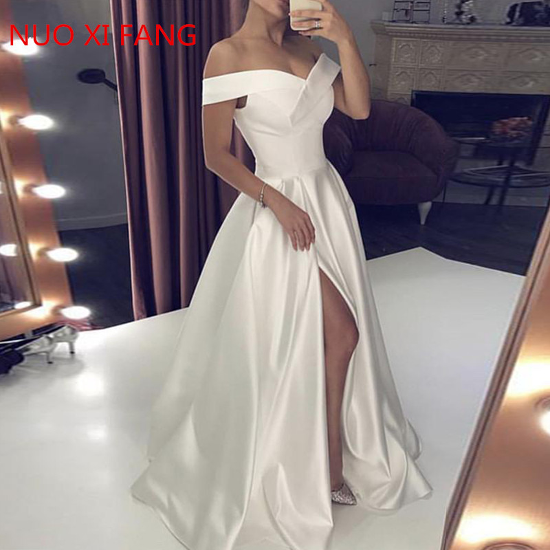 NUOXIFANG Wedding Dresses 2020 Satin Off The Shoulder Bridal Gown Right Split Backless Vestido De Noiva Custom Made Plus Size