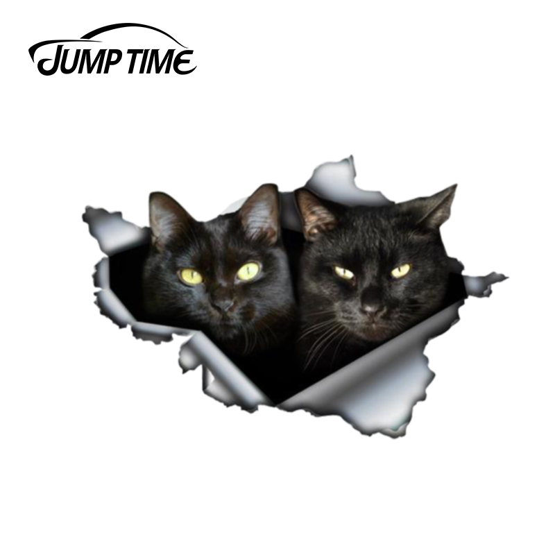 Jump Time 13cm X 8.8cm Black Cat Sticker Torn Metal Bumper Decal Funny Car Stickers Window Trunk Animal 3D Car Styling