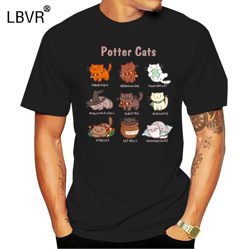 Été 2019 manches courtes grande taille Potter chats t-shirt cadeaux drôles pour les amoureux t-shirt