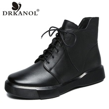 Ankle-Boots DRKANOL Women Rubber Casual-Shoes Classic Black Winter Warm Genuine-Leather