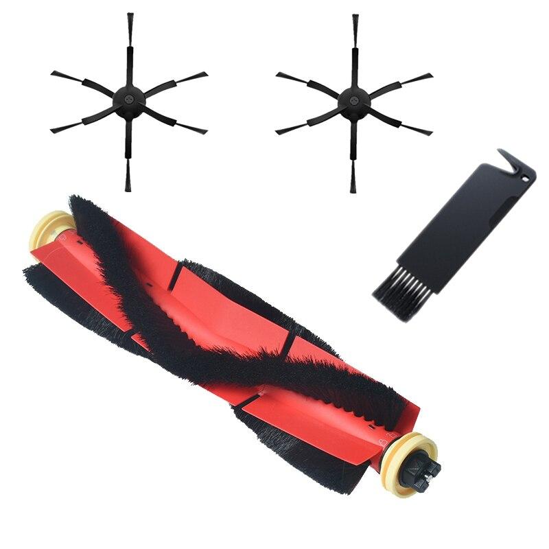 Brosses latérales noires de rechange à 6 bras + brosse principale détachable avec outil pour Robot aspirateur Xiaomi/Roborock S50 S51 S55 S5 S6