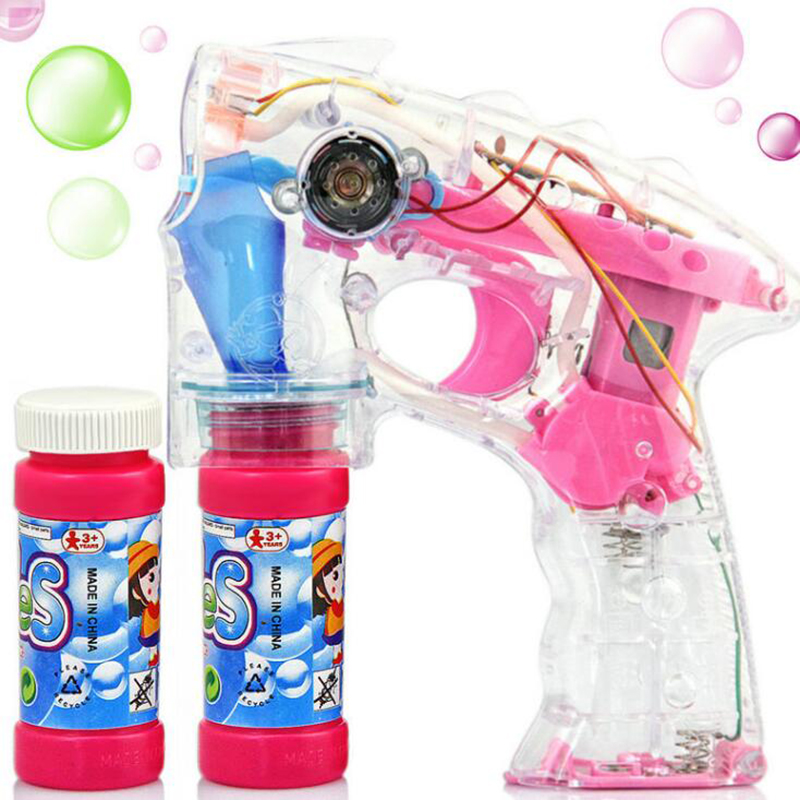 Automatic Transparent Light Music Bubble Gun Electric Toys With Water Two Bottles Beautiful Kids Children Soap Blowing Machine