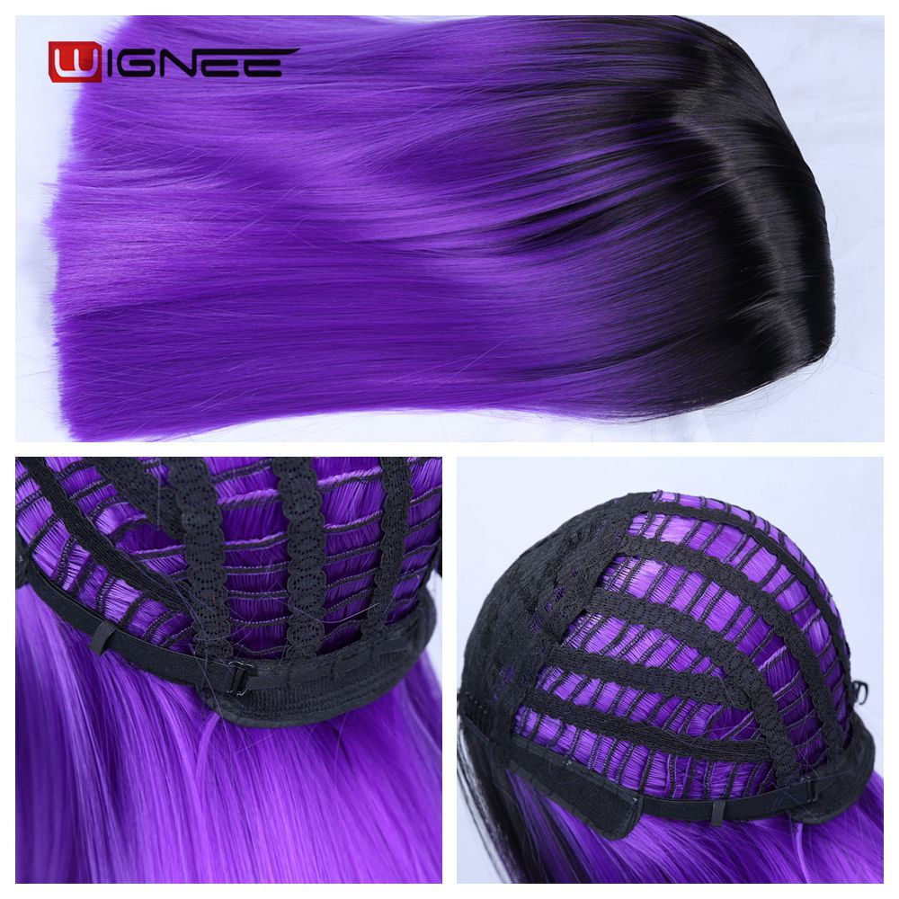 H3ce44107a71848f4ac0b70f9ac761a1dT - Wignee 2 Tone Ombre Brown Ash Blonde Synthetic Wig for Women Middle Part Short Straight Hair High Temperature Cosplay Hair Wigs