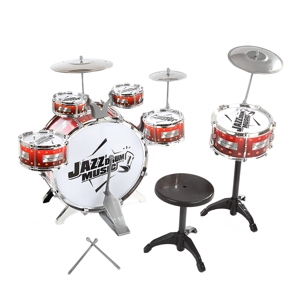 Children Drum Musical Toy Instruments with Cymbals Stool Play Game Music Interest Development For Kids Christmas Birthday Gift - 3