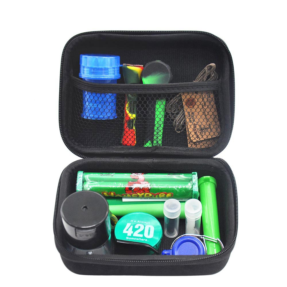 Tobacco pouch pipe set grinder tool bag 12pcs/set silicone pipes for smoking sealed kit clean artificial pipe gadgets for men