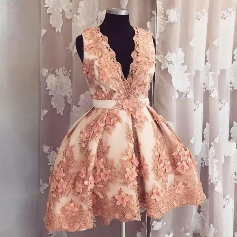 2019 Sexy Deep V-Neck Sleeves A-Line   Prom     Dresses   With 3D Flowers Adorned Short Formal Graduations Gowns Custom Homecoming   Dress