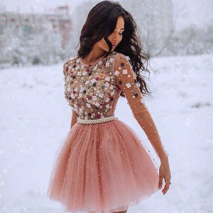 Image 2 - O Neck Blush Pink Party Prom Gown Beading Tulle Full Sleeves A line Short Evening Dress Appliques Floral Party Crystals OL103452