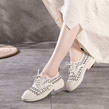 Summer fashion leather single shoes hollow lace thick heel women's