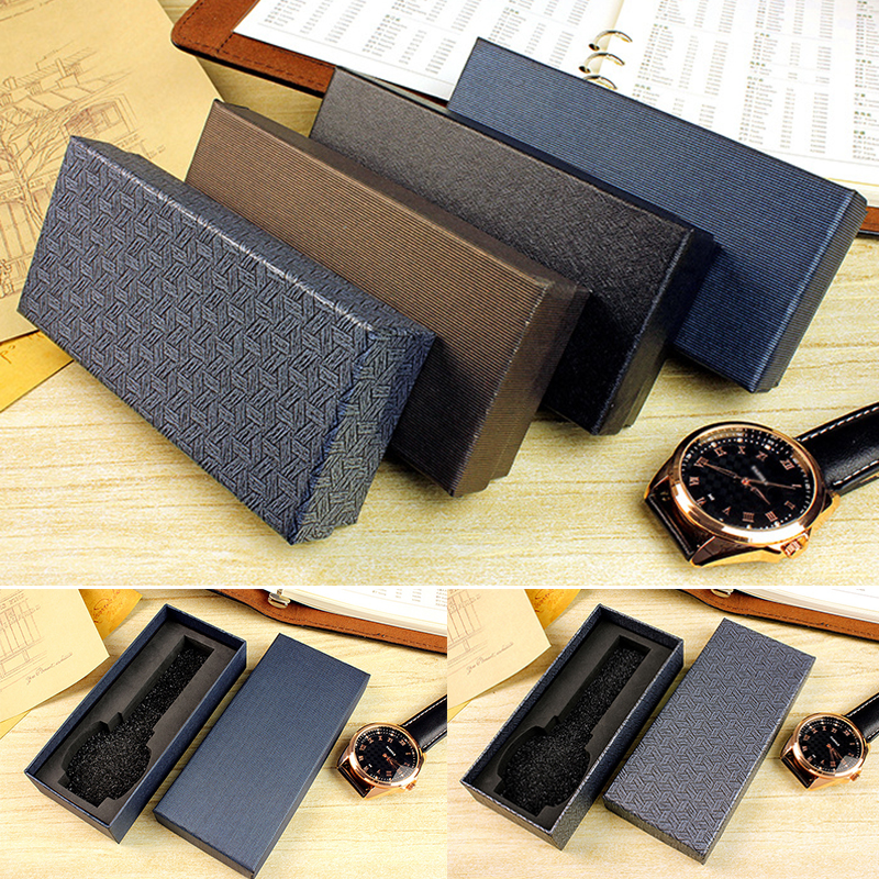 4 Kinds Of Rectangle Shaped Watch Box Black Blue Stripe Plaid Collection Box Gift Watch Jewelry Box Long Style Watch Case