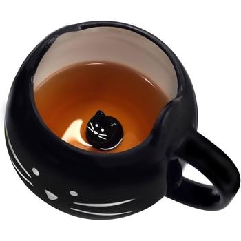 Cat Mug Cat Coffee Mug for Women Girls Cute Ceramic Meow Mugs for Cat Lover Tea Cup 12 oz White,Black 1