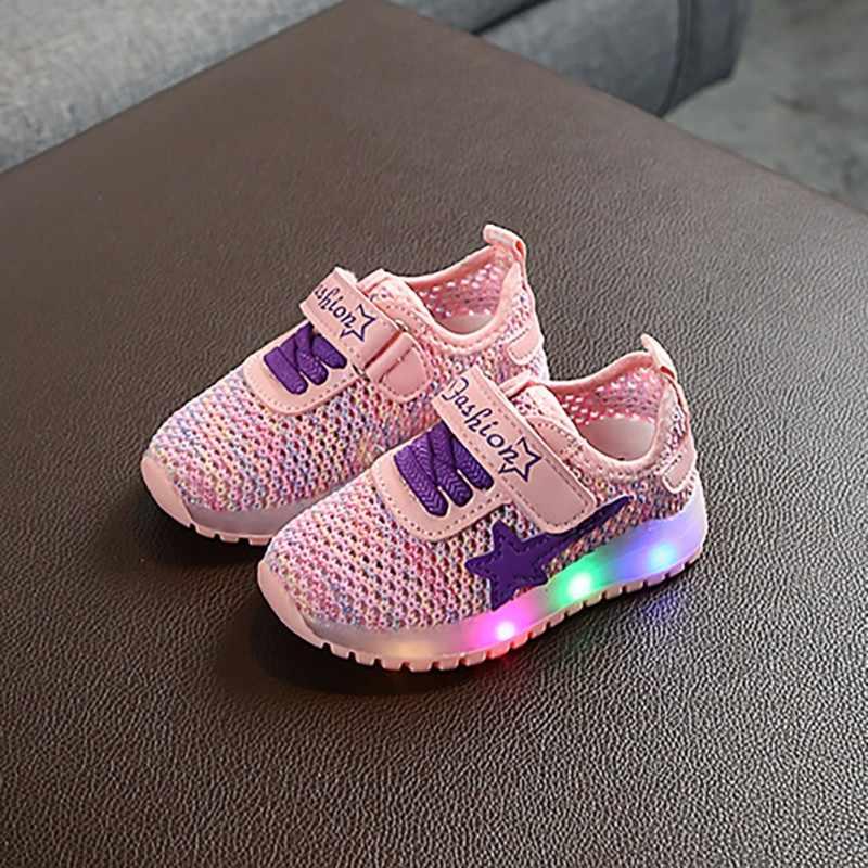 ילדים בני בנות נעלי LED אור תינוק נעלי ספורט נעליים לנשימה אנטי להחליק ילדים רך עם סוליות 1-5Y תינוק